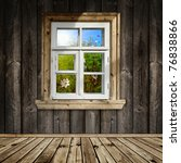 Wooden Room With A Window...