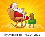happy santa claus sitting in a... | Shutterstock .eps vector #768391831
