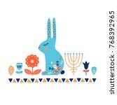 nordic ornaments  folk art...   Shutterstock .eps vector #768392965