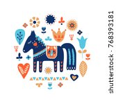 nordic ornaments  folk art...   Shutterstock .eps vector #768393181