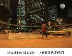 blurred motion light in city... | Shutterstock . vector #768393901