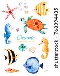oceanic creature watercolor set.... | Shutterstock . vector #768394435