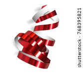 festive red ribbon on white... | Shutterstock .eps vector #768395821
