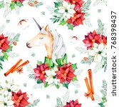seamless christmas pattern with ... | Shutterstock . vector #768398437
