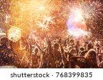 cheering crowd watching... | Shutterstock . vector #768399835