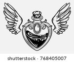magic bottle with wings. gothic ... | Shutterstock .eps vector #768405007