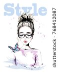 hand drawn beautiful young... | Shutterstock .eps vector #768412087