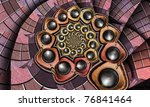 Abstract Fractal Spiral With...