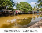 siem reap river and dwellings... | Shutterstock . vector #768416071