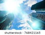 skyscraper glass facades on a...   Shutterstock . vector #768421165