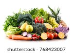 composition with variety of raw ... | Shutterstock . vector #768423007