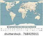retro world map main state... | Shutterstock .eps vector #768425011