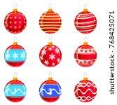 christmas balls. set of...   Shutterstock .eps vector #768425071