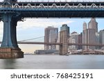 view of two bridges on the east ... | Shutterstock . vector #768425191