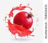 pomegranate juice splash... | Shutterstock .eps vector #768426631