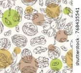 seamless pattern with walnut ... | Shutterstock .eps vector #768435541