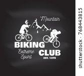 mountain biking club. vector... | Shutterstock .eps vector #768443815