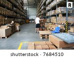 busy warehouse with people... | Shutterstock . vector #7684510