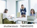 group of happy business women... | Shutterstock . vector #768455395