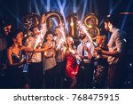 group of friends celebrating... | Shutterstock . vector #768475915