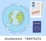 the approved visa application... | Shutterstock .eps vector #768476251