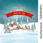 winter village christmas... | Shutterstock .eps vector #768484891