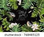 Stock vector vector botanical horizontal banner with tropical leaves flowers birds and butterflies on black 768485125