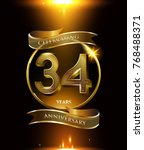 34 years anniversary logo with... | Shutterstock .eps vector #768488371