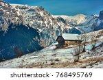 romanian winter landscape in... | Shutterstock . vector #768495769