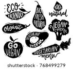 vegetarian menu badges and... | Shutterstock .eps vector #768499279