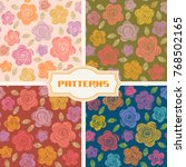 vector set of seamless pattern ... | Shutterstock .eps vector #768502165