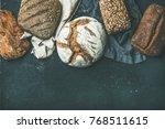 various bread selection flat... | Shutterstock . vector #768511615