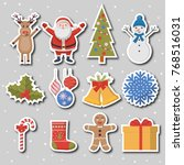 christmas set of colorful icons.... | Shutterstock .eps vector #768516031