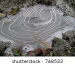 Frozen Ice Covered Puddle