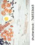 Small photo of Vintage photo, Food containing omega 3 acids, natural minerals and dietary fiber, healthy nutrition and acid diet concept, copy space for text on rustic board