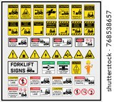 set of safety caution signs and ... | Shutterstock .eps vector #768538657