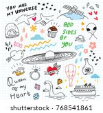 cute random doodle background | Shutterstock .eps vector #768541861