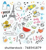 cute random doodle background | Shutterstock .eps vector #768541879