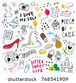 cute random doodle background | Shutterstock .eps vector #768541909