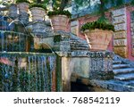 soothing garden waterfalls  | Shutterstock . vector #768542119
