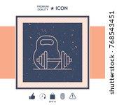 kettlebell and barbell line icon | Shutterstock .eps vector #768543451