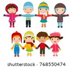 children  winter clothes | Shutterstock .eps vector #768550474