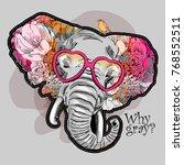 vector psychedelic elephant.... | Shutterstock .eps vector #768552511