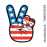 hand peace sign symbol usa... | Shutterstock .eps vector #768553555