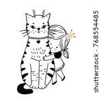 cute cat and little princess | Shutterstock .eps vector #768554485