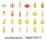 candle icon set. cartoon set of ... | Shutterstock .eps vector #768570577