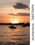 sunset on the hudson river  new ... | Shutterstock . vector #768570694