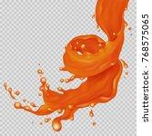 caramel flow. realistic falling ...   Shutterstock .eps vector #768575065