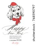 a dog in a santa claus hat.... | Shutterstock .eps vector #768590797
