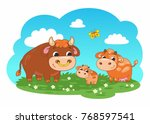 cute cartoon vector family of... | Shutterstock .eps vector #768597541